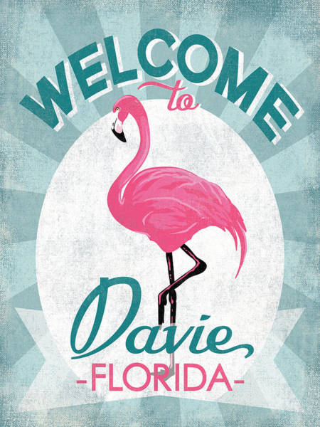 Wall Art - Digital Art - Davie Florida Pink Flamingo by Flo Karp
