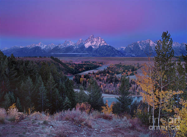 Photograph - Dawn Alpenglow On The Snake River Grand Tetons National Park by Dave Welling