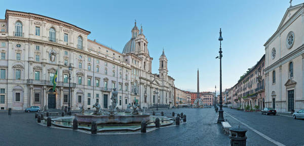 Wall Art - Photograph - Dawn In Piazza Navona Fontana Del Moro by Fotovoyager