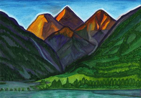 Painting - Evening Illumination Of Snowy Mountain Peaks With Waterfalls And A Mountain River by Irina Dobrotsvet