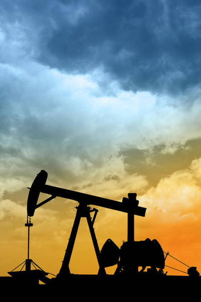 Energy Crisis Photograph - Dawn Over Petroleum Pump In The Desert by Grafissimo