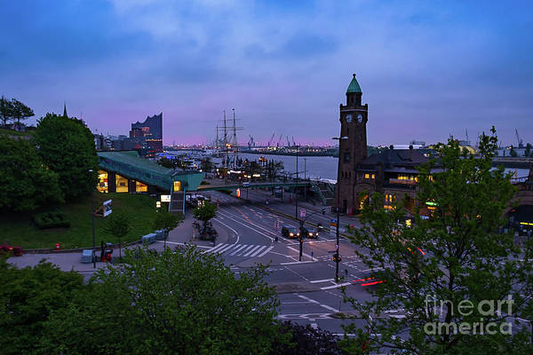 Photograph - Dawn Over The Port And City Hamburg Panorama by Marina Usmanskaya