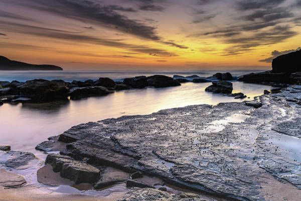 Killcare Photograph - Dawn Sky Over A Rocky Seascape by Merrillie Redden