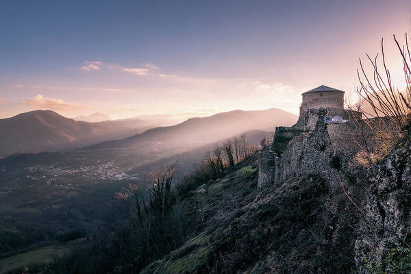 Photograph - Dawning Fortress - The Famous Fortress Of Verrcuole In Tuscany At Dawn by Matteo Viviani
