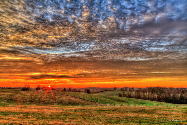 Photograph - Dawns Rays Hayfield Sunrise  Georgia Farm Landscape Art by Reid Callaway
