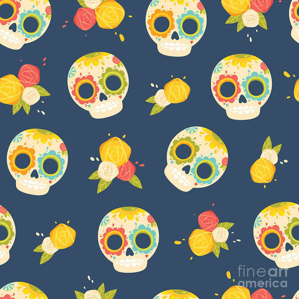 Wall Art - Digital Art - Day Of The Dead Colorful Vector by Orangemilk