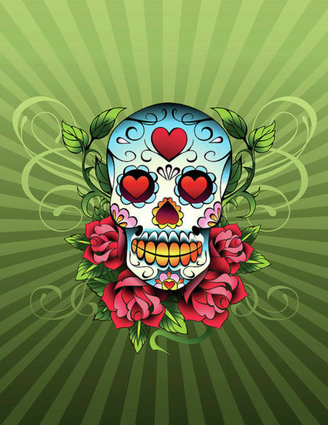 Spooky Digital Art - Day Of The Dead Skull by New Vision Technologies Inc