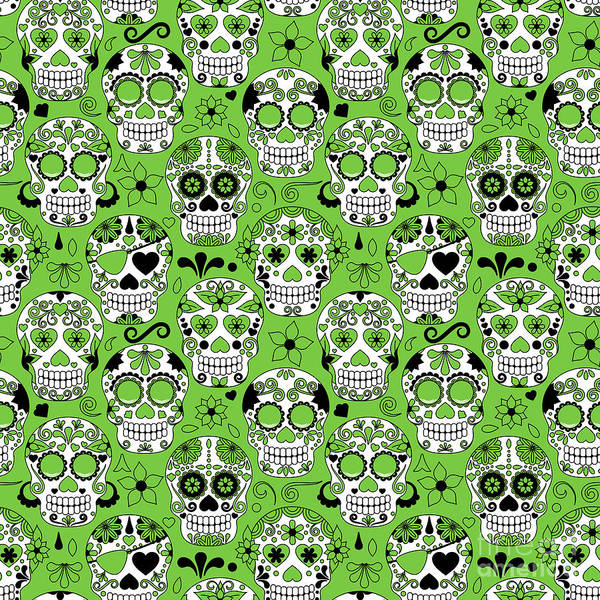 Wall Art - Digital Art - Day Of The Dead Sugar Skull Seamless by Pinkpueblo