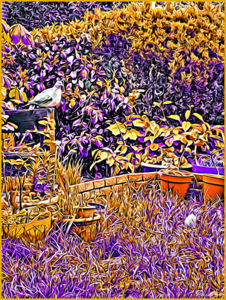 Mixed Media - Dayglow Garden With A Pigeon And Egg, Abbie Shores Faa Challenge 19 by Lise Winne