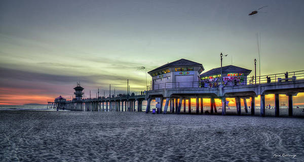 Photograph - Days End Huntington Beach Pier Sunset Los Angeles Collection Art by Reid Callaway
