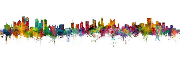 Wall Art - Digital Art - Dayton, Columbus And Richmond Skylines Mashup by Michael Tompsett