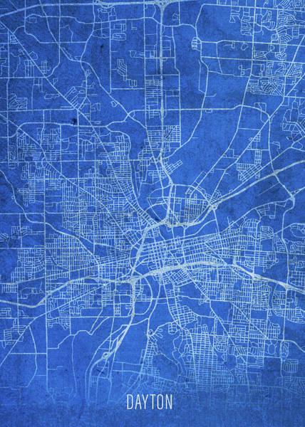 Wall Art - Mixed Media - Dayton Ohio City Street Map Blueprints by Design Turnpike