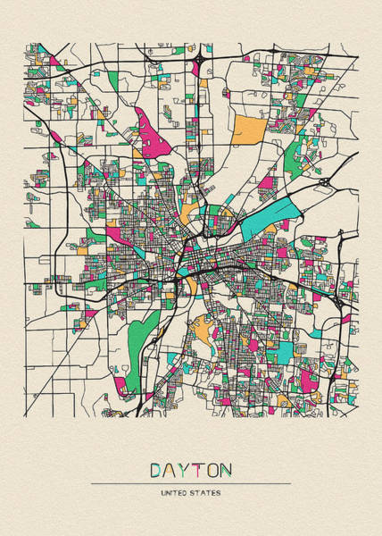 Wall Art - Drawing - Dayton, Ohio City Map by Inspirowl Design