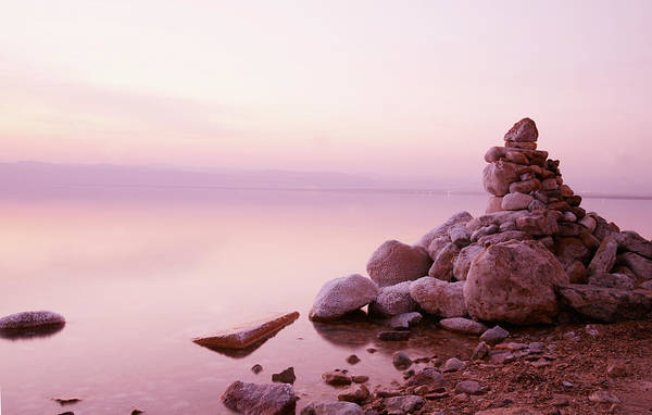 Wall Art - Photograph - Dead Sea Sunset With Stones by Clu