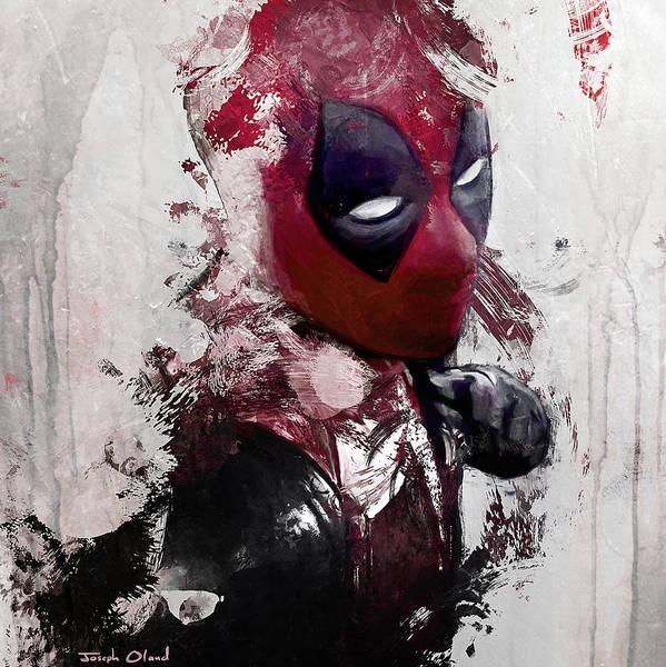 Super Hero Mixed Media - Deadpool Punch by Joseph Oland