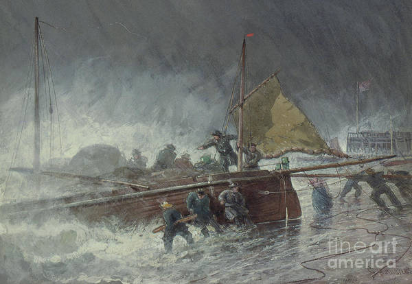Wall Art - Painting - Deal Lugger Putting Off In A Storm by George Henry Andrews