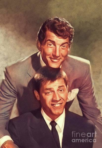 Wall Art - Painting - Dean Martin And Jerry Lewis, Hollywood Legends by John Springfield