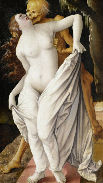 Wall Art - Painting - Death And The Maiden by Hans Baldung