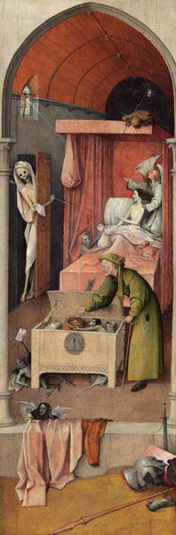 Wall Art - Painting - Death And The Miser, 1490 by Hieronymus Bosch