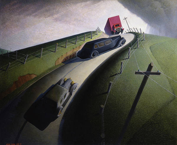 Wall Art - Painting - Death On The Ridge Road, 1935 by Grant Wood