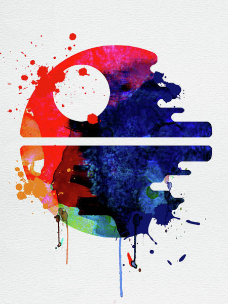Movie Poster Mixed Media - Death Star Watercolor Cartoon by Naxart Studio