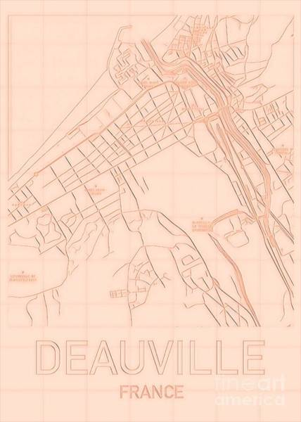 Proust Digital Art - Deauville Blueprint City Map by Helge