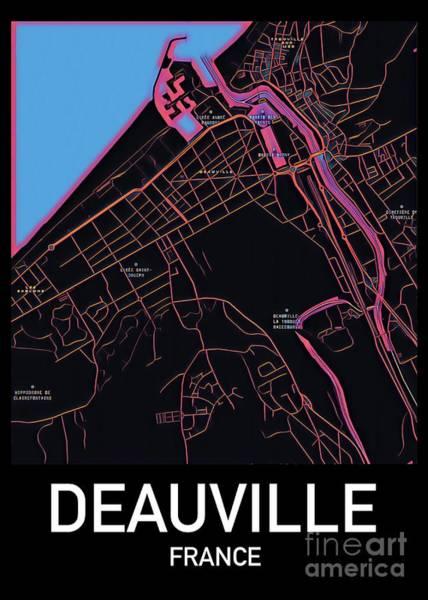 Digital Art - Deauville City Map by Helge