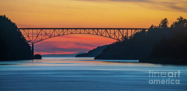 Wall Art - Photograph - Deception Pass Bridge Evening Colors by Mike Reid