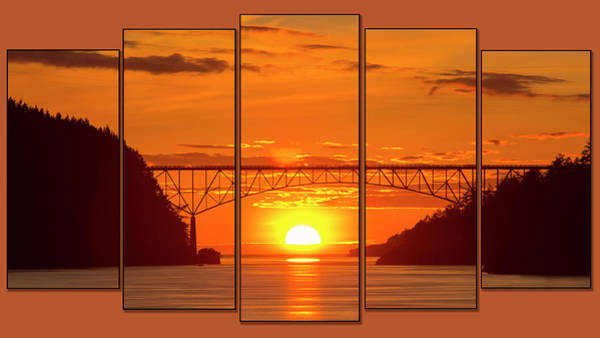 Wall Art - Photograph - Deception Pass Sunset Panels by Tony Locke