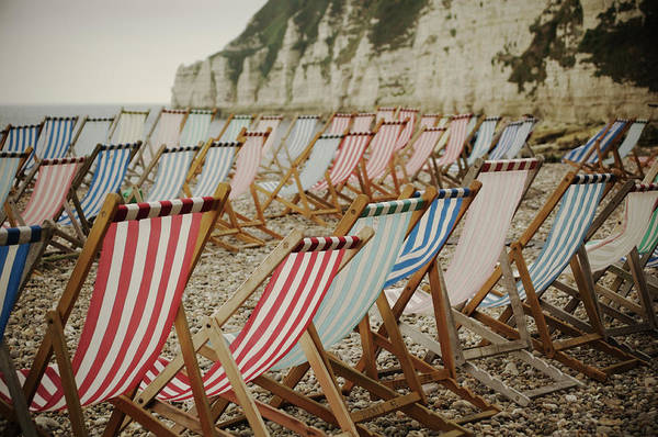 Deck Chair Photograph - Deck Chairs On Empty Beach by Alison Wooder