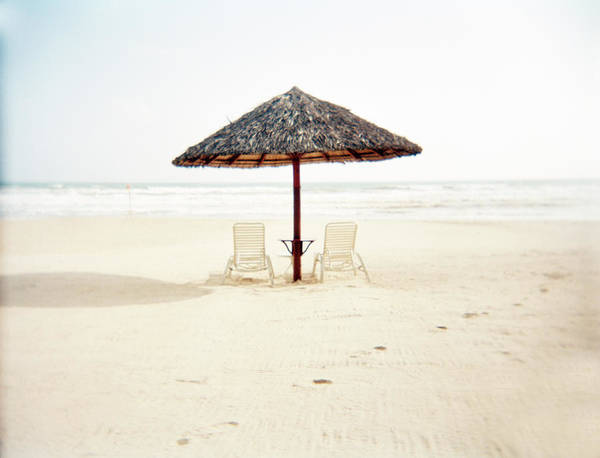 Side-by-side Photograph - Deckchairs With Bamboo Thatch Umbrella by Xpacifica