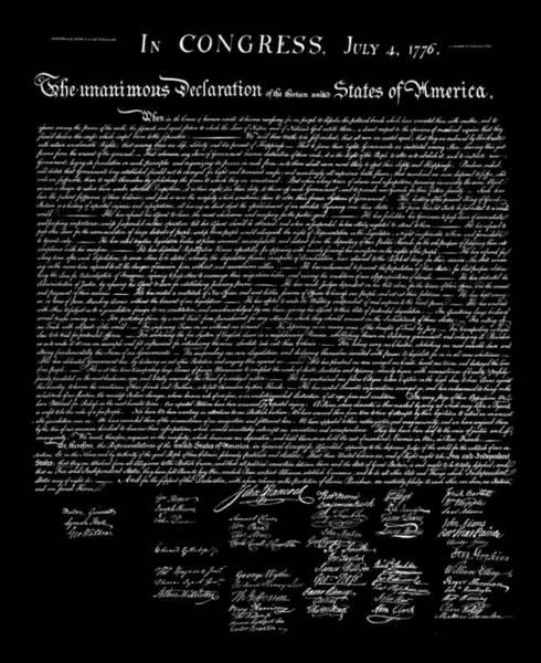 Wall Art - Digital Art - Declaration Of Independence 1776 T-shirt Dark Colors by Daniel Hagerman