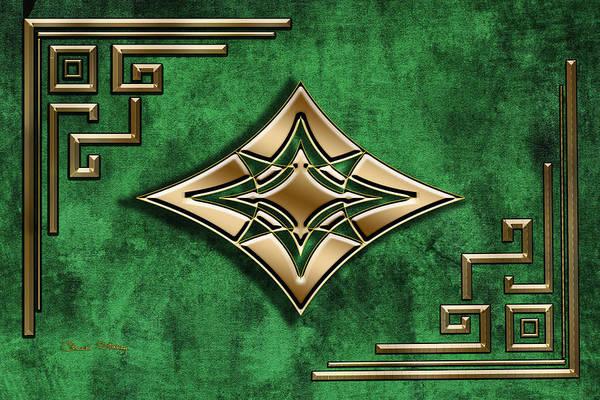 Digital Art - Deco Design 1 On Emerald by Chuck Staley