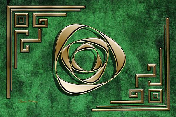 Digital Art - Deco Design 2 On Emerald by Chuck Staley