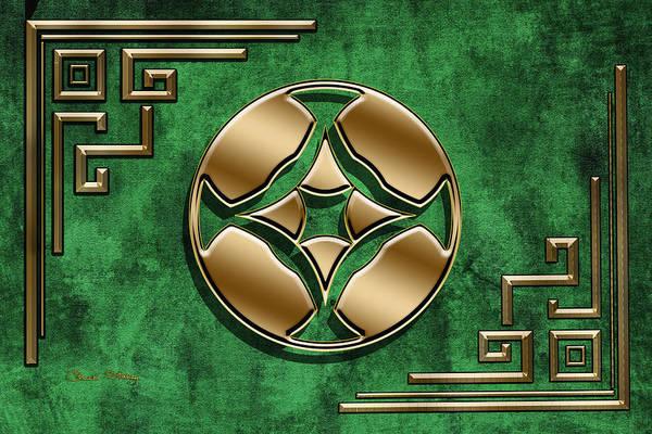Digital Art - Deco Design 3 On Emerald by Chuck Staley