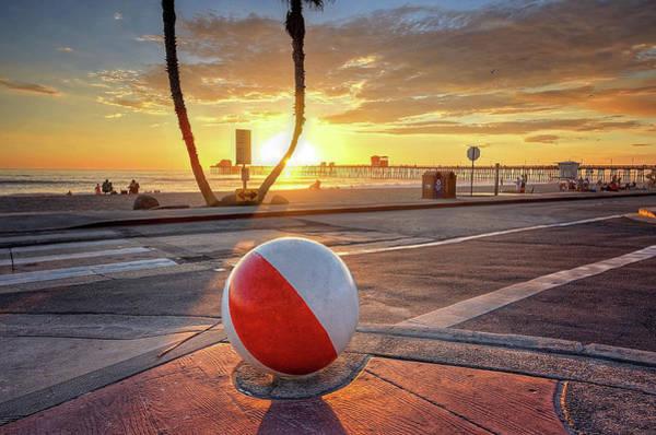 Wall Art - Photograph - Decorative Beach Ball At Oceanside Pier by Ann Patterson