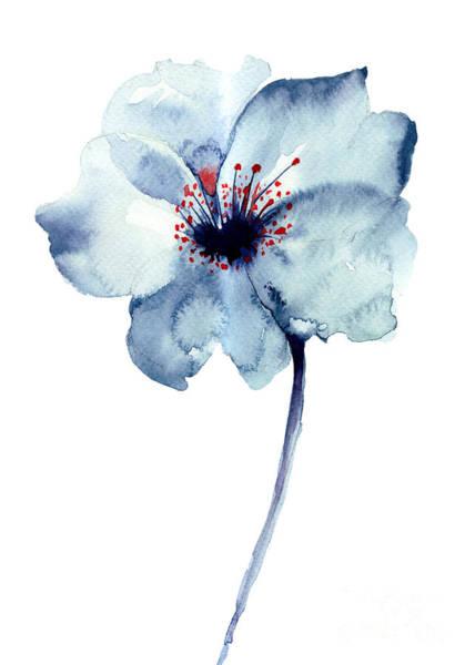 Spot Digital Art - Decorative Blue Flower, Watercolor by Regina Jershova