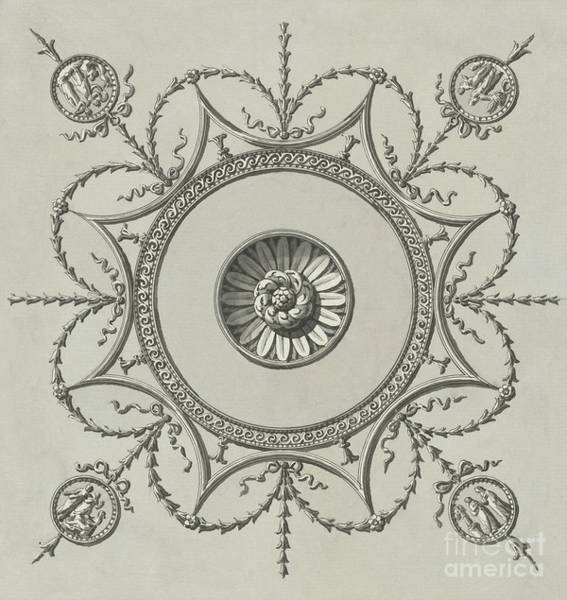 Wall Art - Drawing - Decorative Ceiling Medallion Design For The Ceiling Of The Staircase, Headfort House by Robert Adam