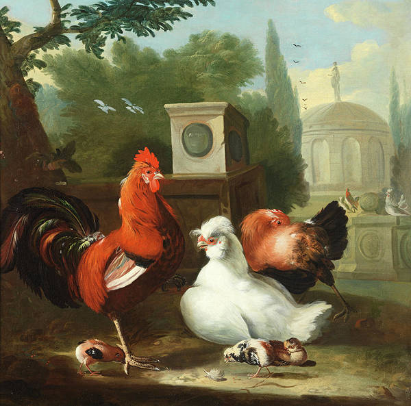 Breeding Painting - Decorative Fowl Before A Classical Garden by Circle of Marmaduke Craddock