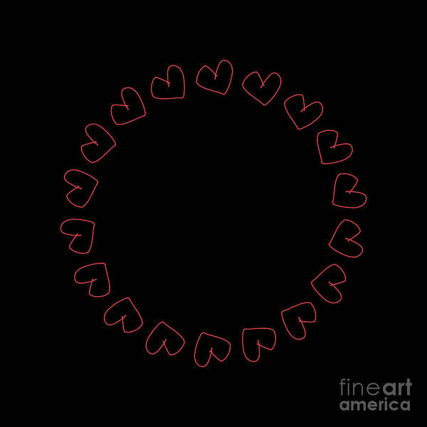 Digital Art - Decorative Frame, Simple 3d Rendering Illustration Of Red Hearts In Circle On Black Background For Valentines by Joaquin Corbalan