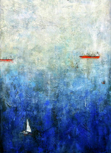 Freighter Wall Art - Painting - Deep Blue Sea by Barb Pearson