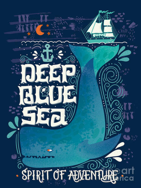 Yacht Wall Art - Digital Art - Deep Blue Sea. Hand Drawn Nautical by Julia Henze