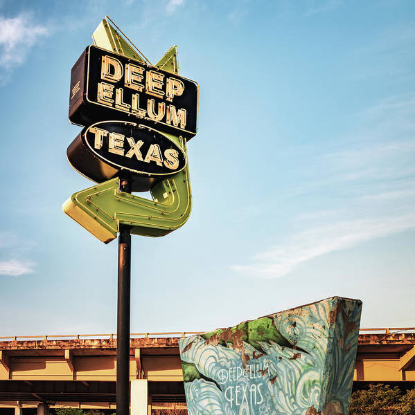 Photograph - Deep Ellum Texas - Dallas Vintage Neon - 1x1 by Gregory Ballos