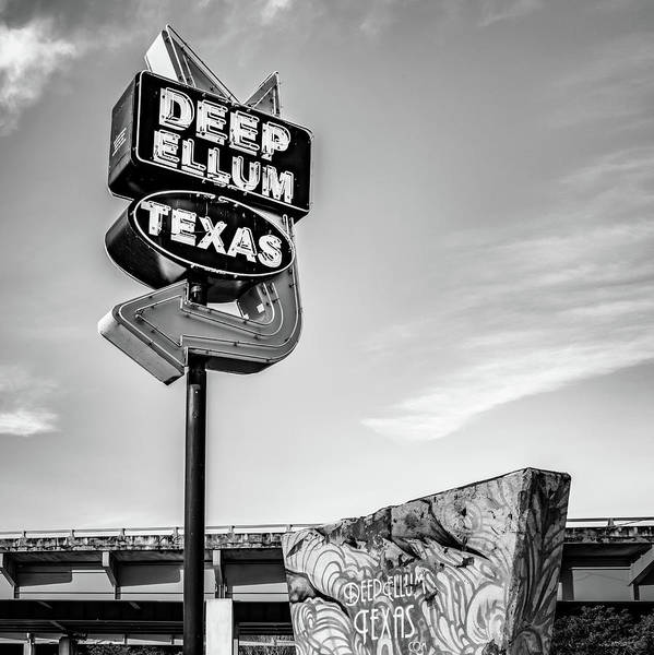 Photograph - Deep Ellum Texas - Dallas Vintage Neon - 1x1 Monochrome by Gregory Ballos