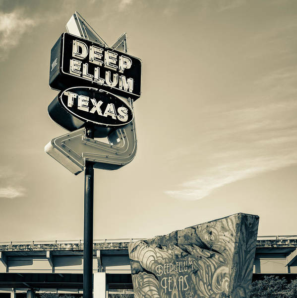 Photograph - Deep Ellum Texas - Dallas Vintage Neon - 1x1 Sepia by Gregory Ballos