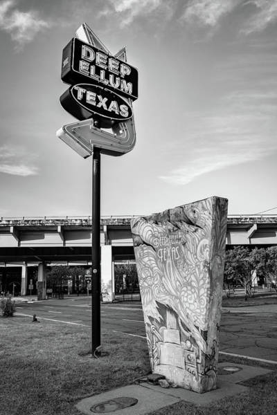Photograph - Deep Ellum Texas Neon - Dallas Cityscape Monochrome by Gregory Ballos