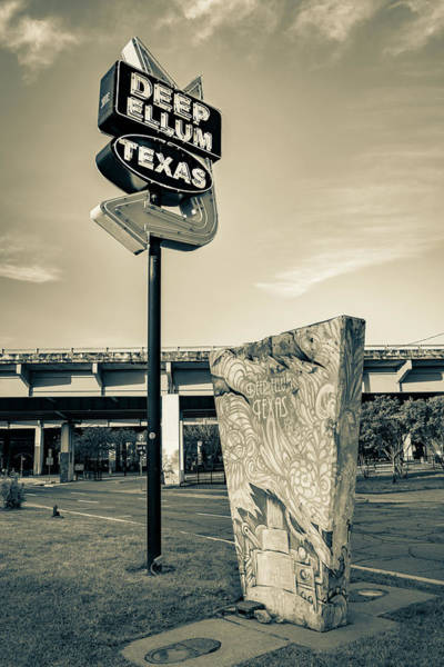 Photograph - Deep Ellum Texas Neon - Dallas Cityscape Sepia by Gregory Ballos