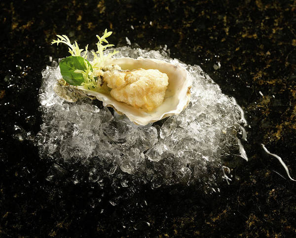Wall Art - Photograph - Deep Fried Oyster In Shell On Ice by Duncan Davis