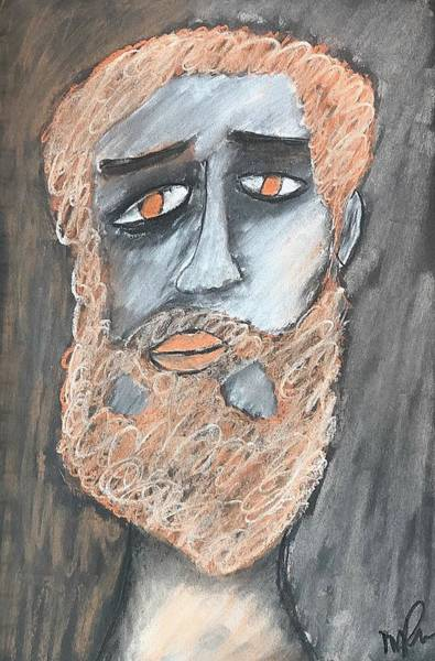 Drawing - Deep Philosophical Sadness by Mario MJ Perron
