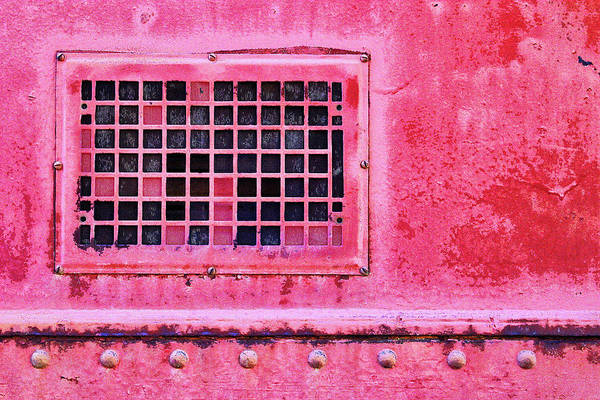 Wall Art - Mixed Media - Deep Pink Train Engine Vent by Carol Leigh